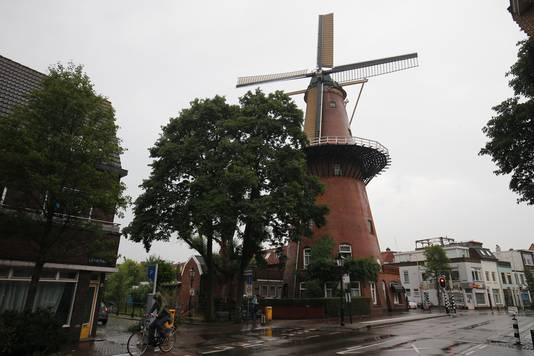 Molen Rijn en Zon aan de Adelaarstraat in Utrecht. De wieken staan stil.