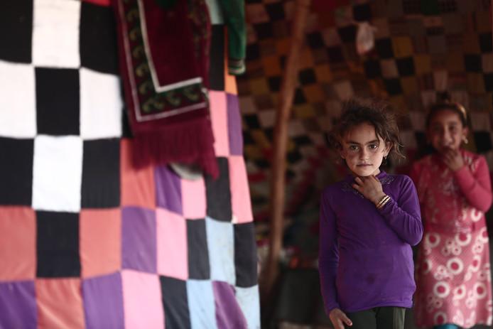Kinderen in een tentenkamp in al-Ghadfa