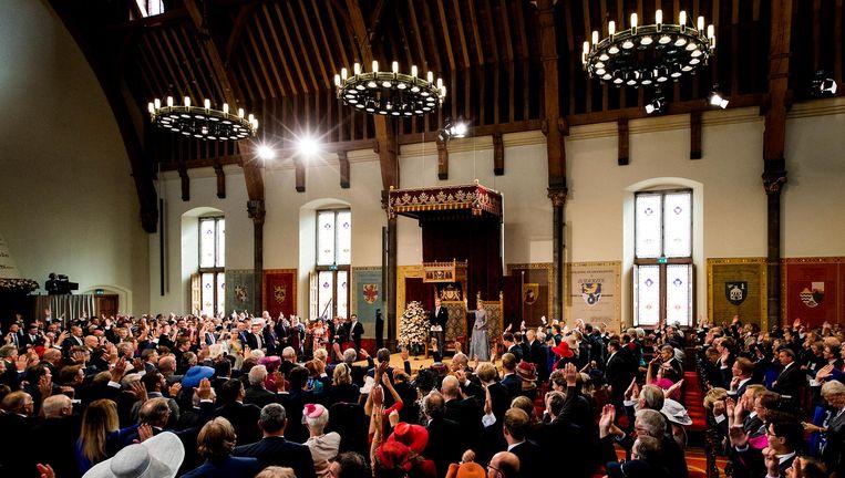 Als het aan D66 ligt zijn er volgend jaar op Prinsjesdag twee lege stoelen in de Ridderzaal. Het ontbrekend Kamerlid en minister zitten dan veilig in een bunker. Beeld anp
