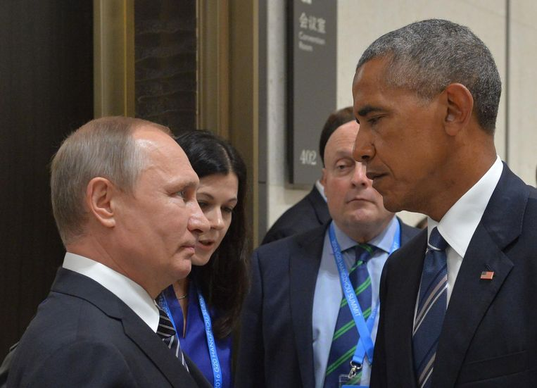 In september kapittelde Obama Poetin al voor het hacken. Beeld afp