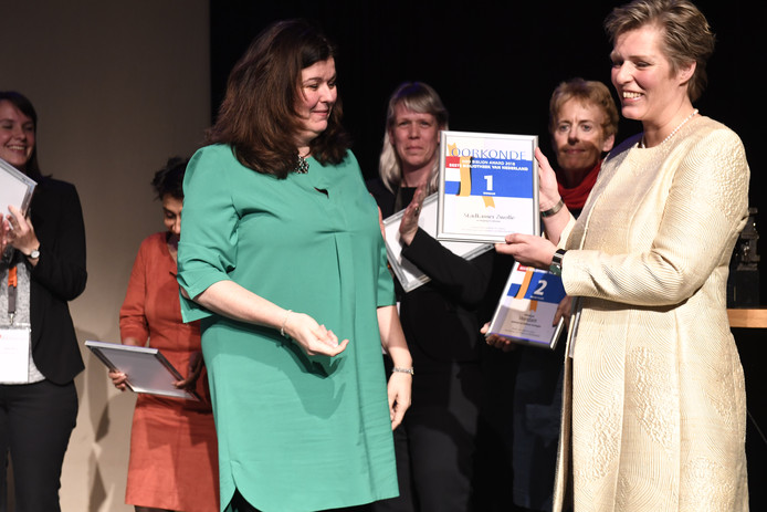 De uitreiking van de prijs vanmiddag in Den Helder aan vertegenwoordigers van de Zwolse bibliotheek.