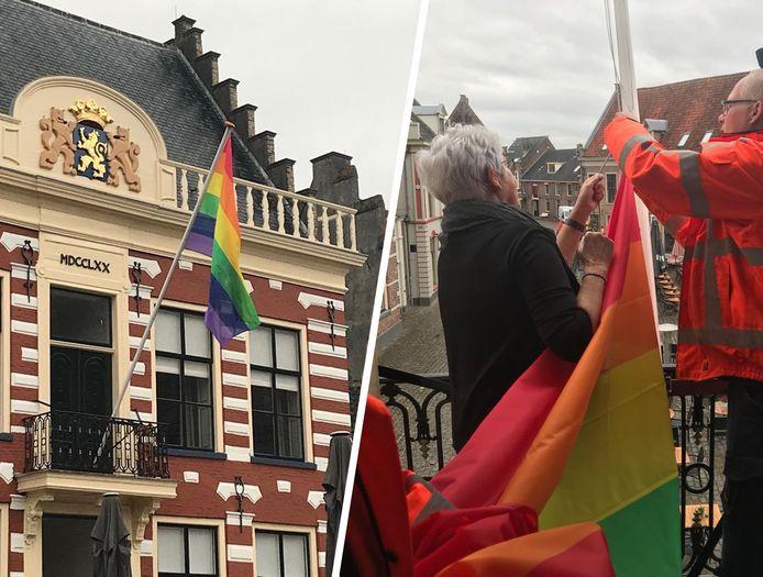 Wethouder Carla Broekhuis hijst de vlag in Hattem.