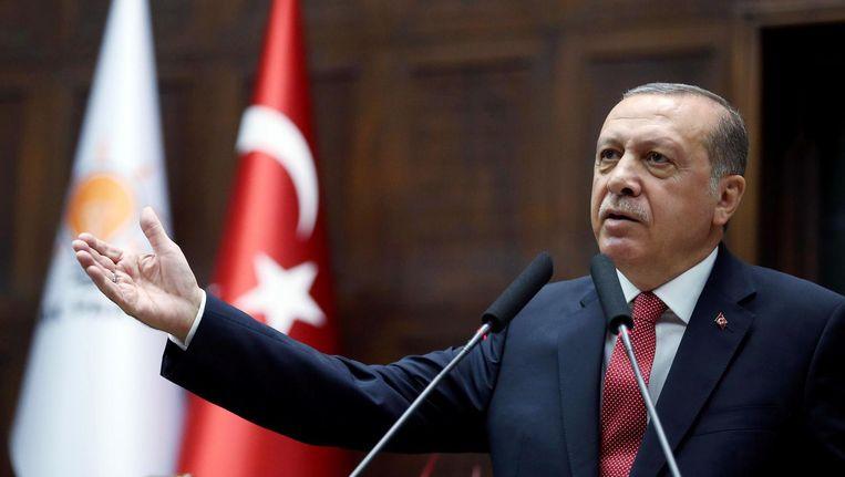 President Erdogan op een foto die is verspreid door het presidentiële persbureau. Beeld anp