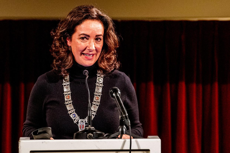 Burgemeester Femke Halsema vorig jaar, bij de herdenking de Decembermoorden in Suriname. Beeld ANP