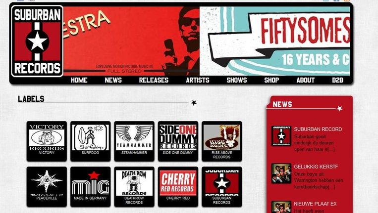 Screenshot van de website van Suburban Records. Beeld