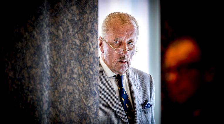 Theo Hiddema (FvD) tijdens het debat met demissionair minister Henk Kamp (Economische Zaken) in de Tweede Kamer over de schadeafhandeling van de aardbevingsschade in Groningen.  Beeld ANP