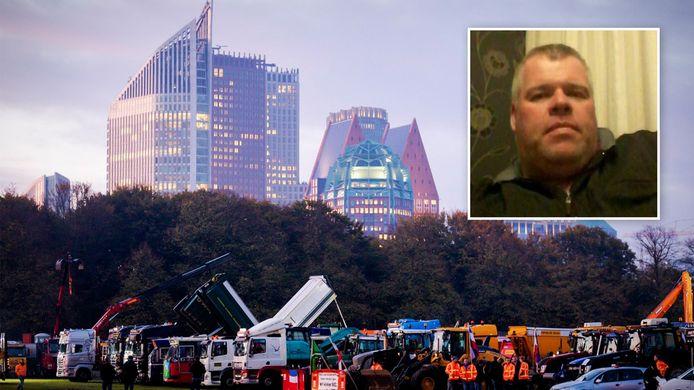 John Schonewille is aanwezig bij het bouwprotest op het Malieveld.
