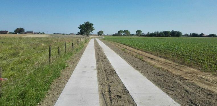 De trage weg tussen de Wolvenhof- en Leenstraat moet er straks zo uit zien.