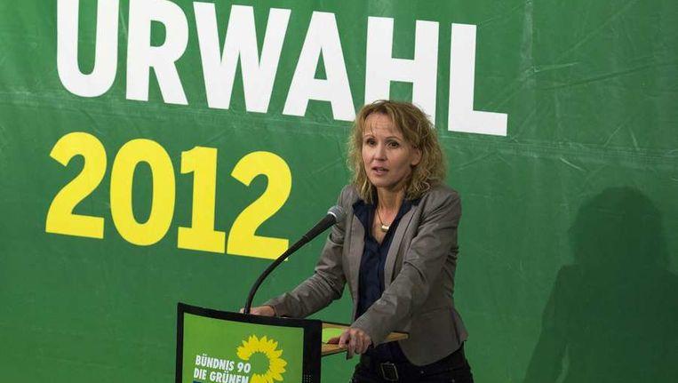 Partijsecretaris van de Groenen Steffi Lemke vandaag bij een persconferentie. Beeld reuters