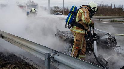 BMW volledig uitgebrand op pechstrook, bestuurster ontsnapt tijdig
