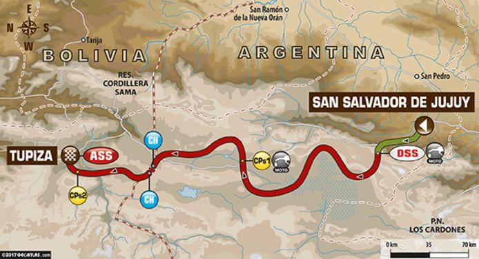 De Dakar deelnemers maken de oversteek naar Bolivia.