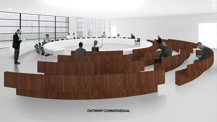 Plannen van architect Ellen van Loon: ontwerp commissiezaal. Beeld OMA