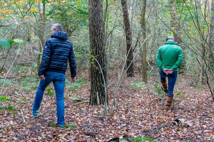 Vrijwilligers zoeken in het bos naar Sacco Tange.