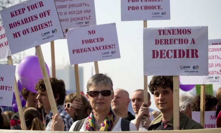 Brussels, Belgium - Demonstrators pictured during a march to support the right to abortus, Saturday 24 March 2012 in Brussels