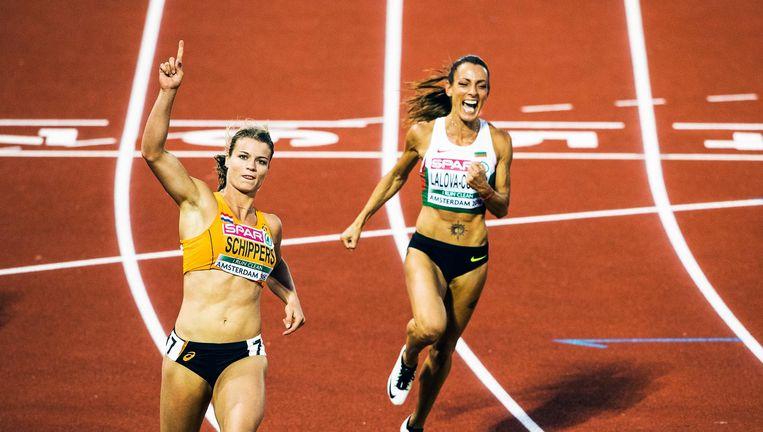 Dafne Schippers wint goud op de 100 meter tijdens het EK atletiek in 2016 in Amsterdam Beeld Jiri Buller