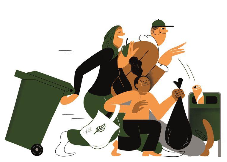 Het witte gezicht van de groene beweging  illustratie Beeld joren joshua