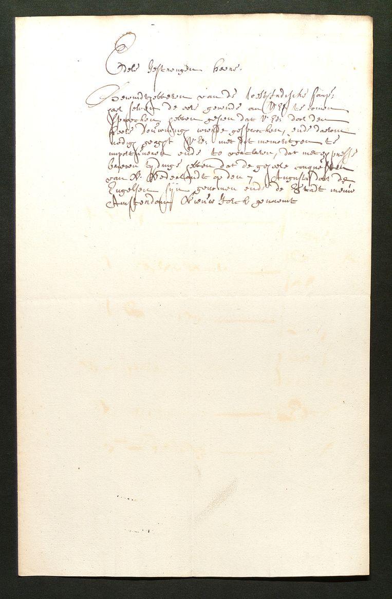 Dit is een niet ondertekend briefje van, vermoedelijk, de bevelhebbers van de West-Indische Compagnie aan Johan de Witt uit 1664, waarin de verovering van de stad Nieuw-Amsterdam door de Engelsen wordt gemeld. Beeld *