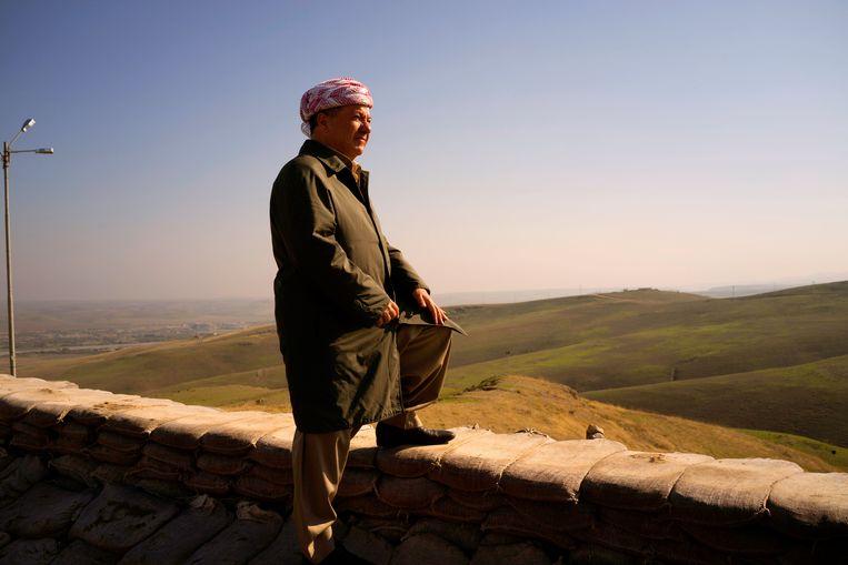 Massoud Barzani kijkt uit over de provincie Nineveh. Beeld Getty Images