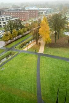 Student half blind na steek in gezicht op campus universiteit Wageningen