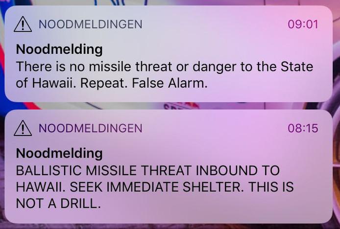 De noodmeldingen op de mobiele telefoon van Eindhovenaar Maarten Strijbosch.