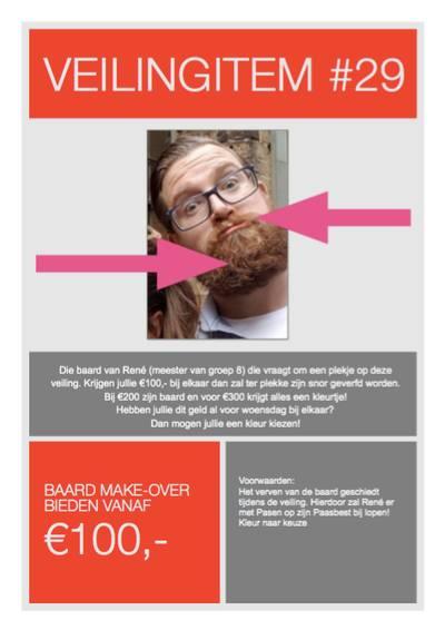 Veilingobject: baard van meester voor 300 euro pimpelpaars