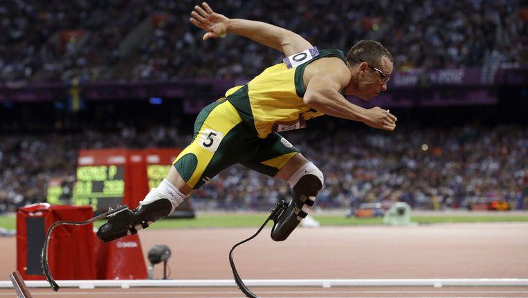 Oscar Pistorius tijdens een wedstrijd. Beeld ap