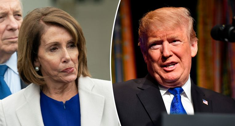 De Democratische voorzitter van het Huis van Afgevaardigden Nancy Pelosi en de Republikeinse president Donald Trump.
