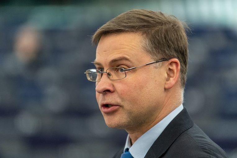 Valdis Dombrovskis, de vicevoorzitter van de Europese Commissie.