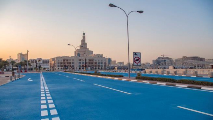 Blauwe straten in Doha