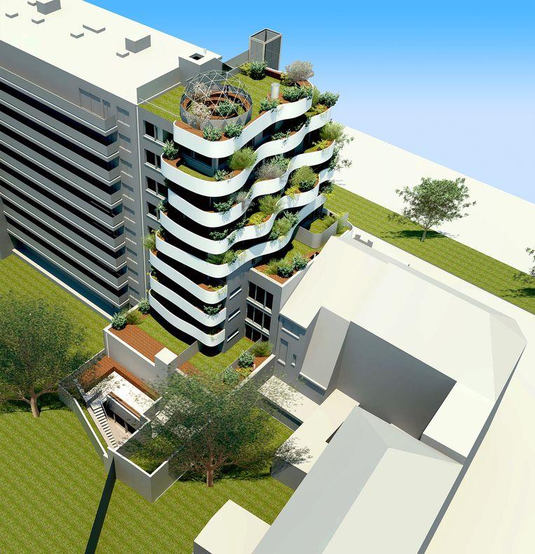 Vooral het overvloedige groen en de grillige vorm van de terrassen vallen onmiddellijk op.