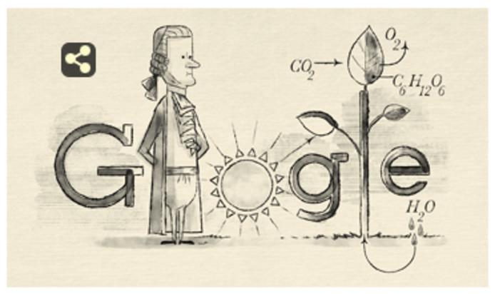 De tekening van Jan Ingenhousz, de 'uitvinder' van de fotsynthese op de startpagina van Google.