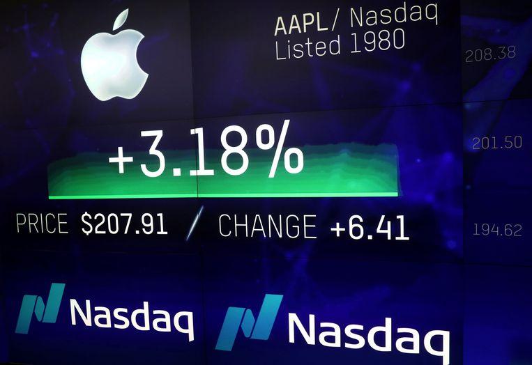 De beurswaarde van Apple wordt getoond op de beurs in New York Beeld REUTERS