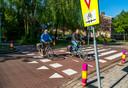 De oversteek van de Linnaeusweg vanuit het Wilgenlaantje komt uit op een stoep.