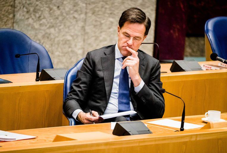 Premier Mark Rutte woensdag tijdens het Tweede Kamerdebat over de ontwikkelingen rond het coronavirus.  Beeld ANP/Bart Maat