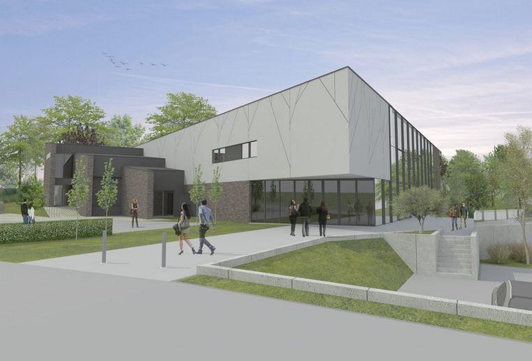De ingang van het nieuwe cultuurhuis kijkt uit op het gemeentelijk administratief centrum.