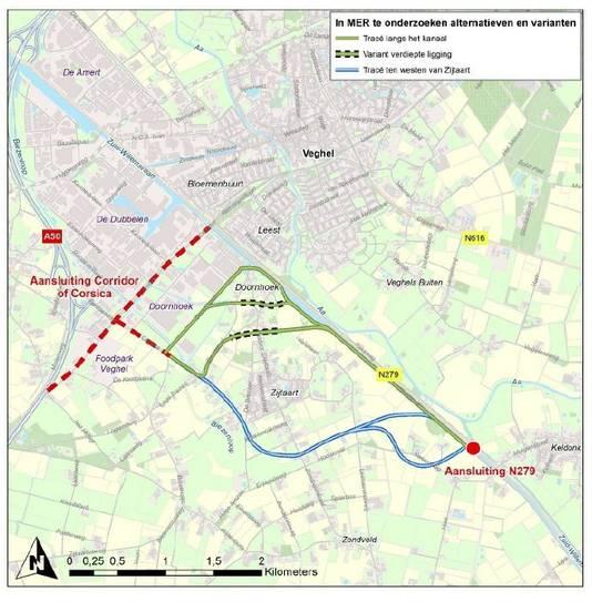 De vijf tracés voor een nieuwe verbindingsweg bij Zijtaart tussen de N279 van Keldonk naar de bedrijventerreinen in Veghel.
