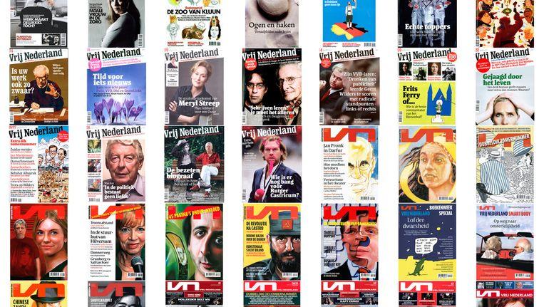 Een aantal edities van Vrij Nederland. Beeld