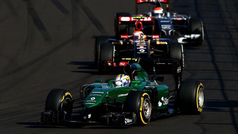 Caterham-coureur Marcus Ericsson in actie op de GP van Rusland. Beeld getty