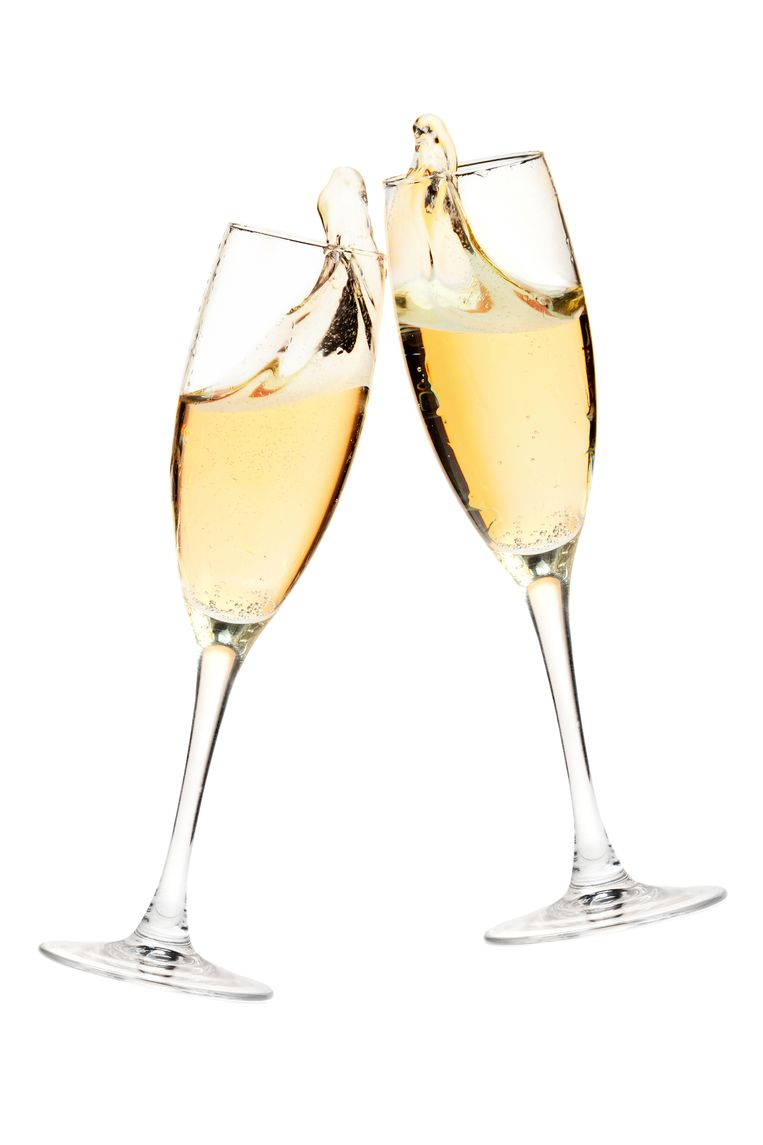 Cava Cheers! Two champagne glasses. Isolated on white