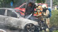 Auto gaat in vlammen op aan carpoolparking E17