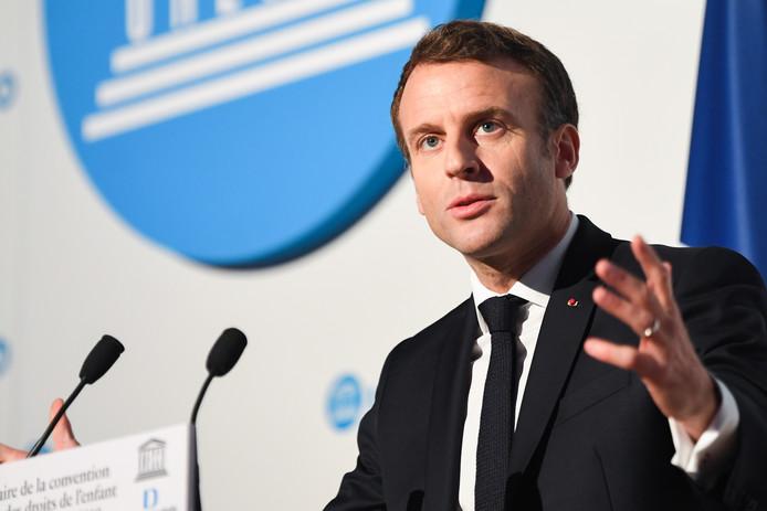 Le président français Emmanuel Macron, au trentième anniversaire de la Convention des droits de l'enfant, organisé à Paris, le 20 novembre.