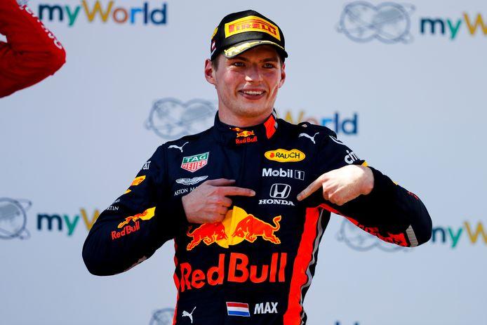 Max Verstappen: na zijn overwinning in Oostenrijk in 2019 nog happy met Honda.