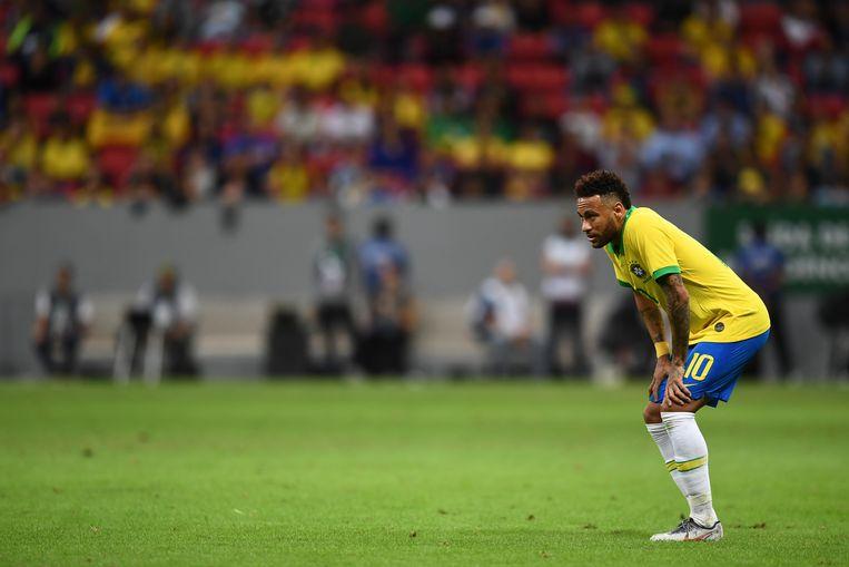 Neymar tijdens een vriendschappelijke wedstrijd tegen Qatar. Beeld AFP