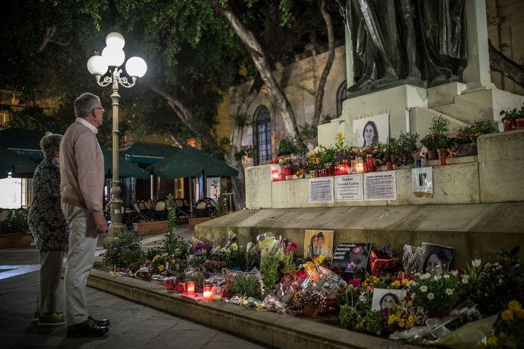 Eerbetoon aan de vermoorde Maltese journaliste Daphne Caruana Galizia op het monument van de Grote Overwinning in Valletta, 9 maart 2018.  Beeld Getty Images