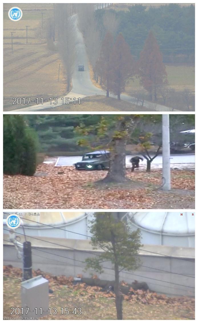 In drie video stills zijn delen van de vlucht te zien. Eerst rijdt de Noord-Koreaanse soldaat in een jeep richting de grens. Hij passeert verschillende checkpoints die bemand zijn door Noord-Koreaanse grenswachten. Vervolgens loopt de jeep vast in een greppel. De man klimt uit het voertuig en rent verder richting Zuid-Korea, terwijl hij beschoten wordt door de Noord-Koreaanse grenswachten. Dan is te zien dat de overloper gewond op de grond ligt naast een muur. Zuid-Koreaanse soldaten snellen naar hem toe en brengen hem in veiligheid.