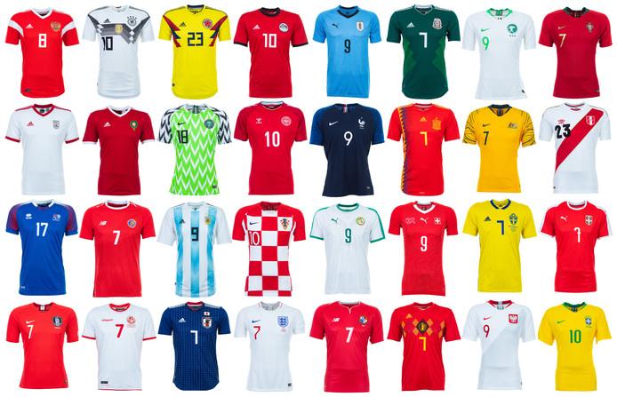 Alle thuisshirts van de WK-deelnemers.