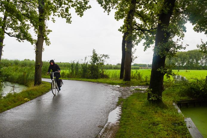 Zicht op de Bisschopsweg. Een deel van de route van het omstreden fietspad tussen Zeist en de Uithof.