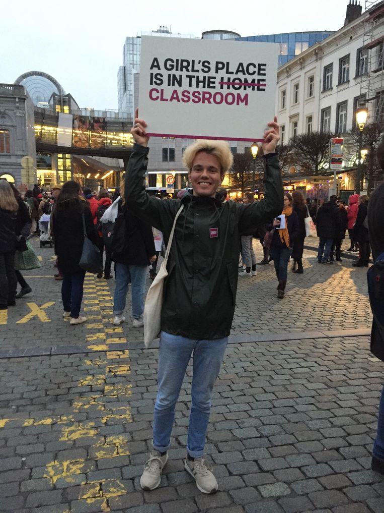 Siebe tijdens de Women's March in Brussel voor het Europees parlement vorige maand