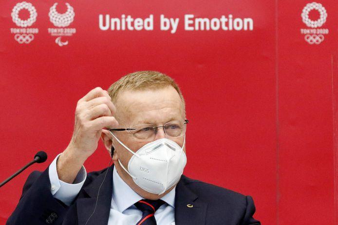 Voorzitter van de coördinatiecommissie van de Olympische spelen John Coates vandaag op een persconferentie in Tokio, Japan.
