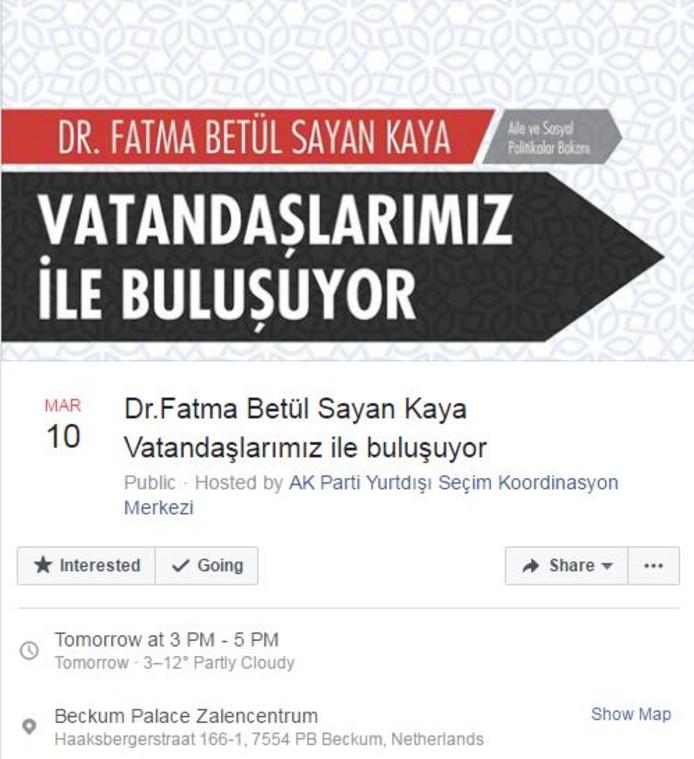 De aankondiging van de komst van de Turkse minister naar Beckum op Facebook.